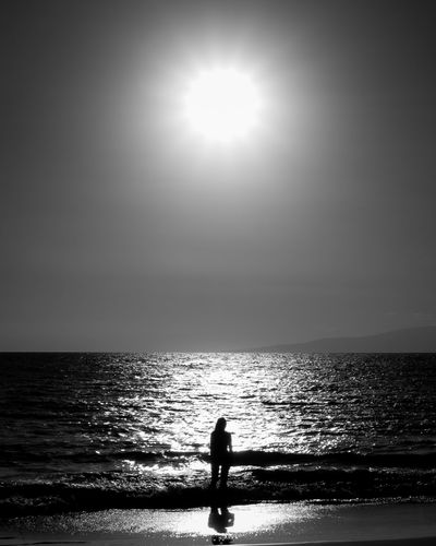 Sea Horizon Over Water One Person Water Silhouette Beach Nature Tranquility Scenics Blackandwhite Sun Beauty In Nature One Woman Only Tropical Climate Sun Beams Fineart EyeEm Gallery Tranquility Vacation Holiday EyeEm Hawaii Travel EyeEm Best Shots Beautiful