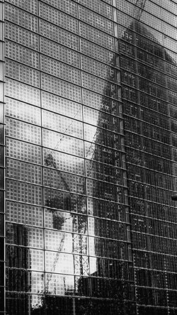 London City Modern Architecture Gherkin Tower Reflection Crane Building Blackandwhite Stylised Graphic