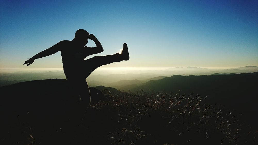 Silhouette Men One Person Adults Only Sky Adult Sunset People Outdoors Only Men One Man Only Thailand Nature Vacation Mountain Sundawn โมโกจู Muay Thai Training Workout