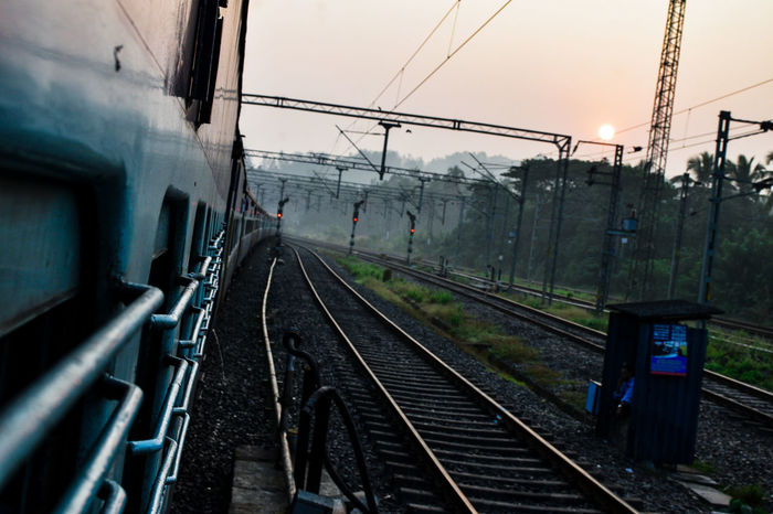 Railway Rail Transportation Morning Round Sun Morningvibes Indian Railway Track Path Train Public Transportation Railroad Track Greenery Fog City Cable Mist Passenger Train Train Interior Railway Station Train Track Railway Station Platform Platform Power Line  Electricity Tower Railway Track Railroad Sunrise - Dawn Shining