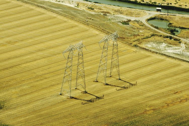 Electricity  Electric Grid Power Lines Farm Wheat Field View From Above