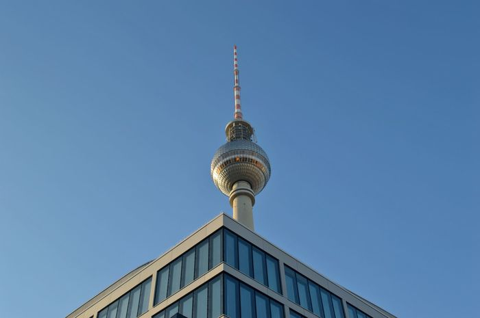 Alexanderplatz Architecture Blue Building Exterior City Clear Sky Communication Day Low Angle View No People Outdoors Sky Tower Travel Travel Destinations
