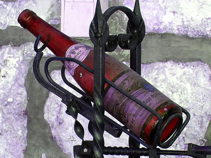 German Wine Bottle White Wine Bottle Wrought Ironwork Close-up Day High Angle View No People Outdoors Red Wine Bottle, Germany Snow