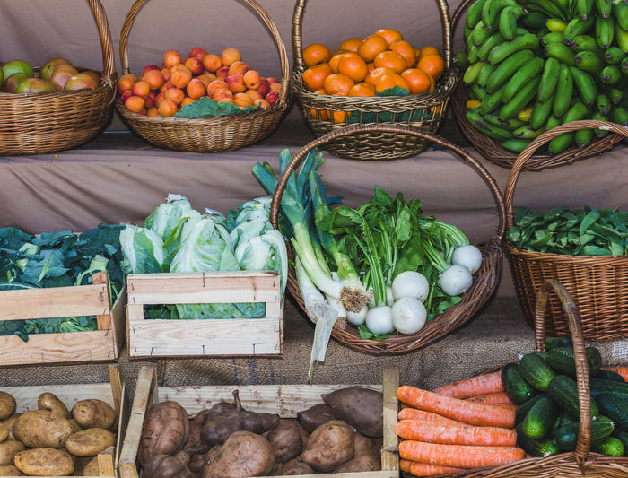 High angle view of fruits and vegetables in market stall