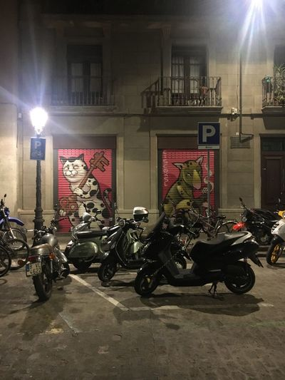 Catalunya Barcelona SPAIN Motorcycle Built Structure Architecture Night Gothic Quarter Walking Tour Street Art Art Graffiti