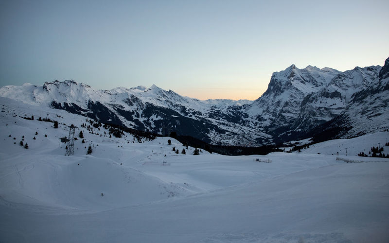 Swiss Alps Wetterhorn Grindelwald White Color Winter Cold Temperature Snow Mountain Scenics - Nature Beauty In Nature Mountain Range Snowcapped Mountain Landscape Idyllic Mountain Peak Clear Sky Before Sunrise Morning Quiet Quiet Places Nature No People