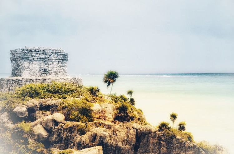 Tulum México Sky Sea Nature Scenics Rock - Object Water Horizon Over Water Day Beauty In Nature Tranquility Tranquil Scene Outdoors No People Tree Palm Tree Architecture Eye4photography  The Week On EyeEm Travel Destinations Travel Photography Mexico Tulum Tulum , Rivera Maya. Tulum Mexico Tulum, Mexico