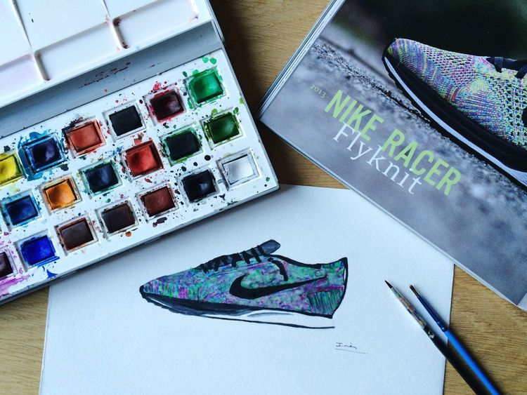 Watercolor Drawing Sneakers Nike Flyknit Flyknitracer Racer Inspiration ProudOfMyself Shoes
