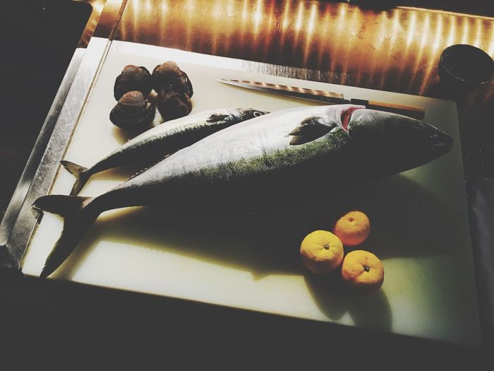 Dead fish can't swim, are you? Food High Angle View Indoors  Food And Drink Freshness No People Table Fruit Healthy Eating Home Interior Ready-to-eat Day Close-up Sashimi  FishMarket Fishfromtsukijimarket Thejapaneseamberjack Yellowtail Hamachi/buri Hamachi