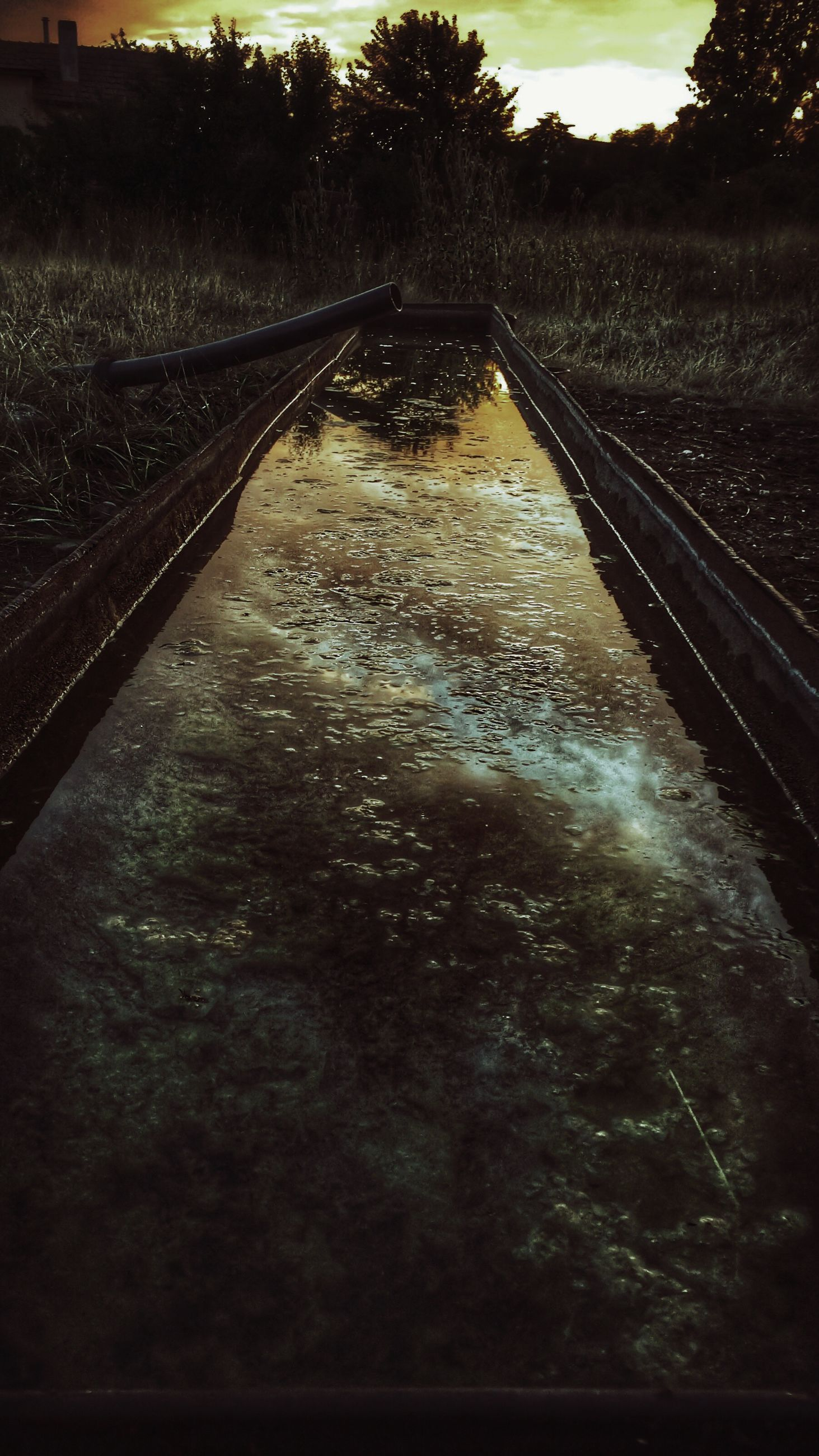 the way forward, water, transportation, diminishing perspective, vanishing point, road, tree, wet, nature, tranquility, street, river, sky, outdoors, reflection, no people, tranquil scene, asphalt, high angle view, empty road