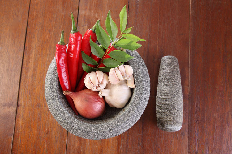 chili,garlic,onion and curry leaf in stone mortar Condiment Flavor Hot Spicy High Angle View Ingredient Healthy Eating Garlic Onion Red Chili Pepper Traditional Wood - Material Food Food And Drink Freshness No People Still Life Mortar And Pestle Spice Pepper Indoors  Vegetable Curry Leaf Wellbeing Wood Grain Red Chili Pepper Raw Food