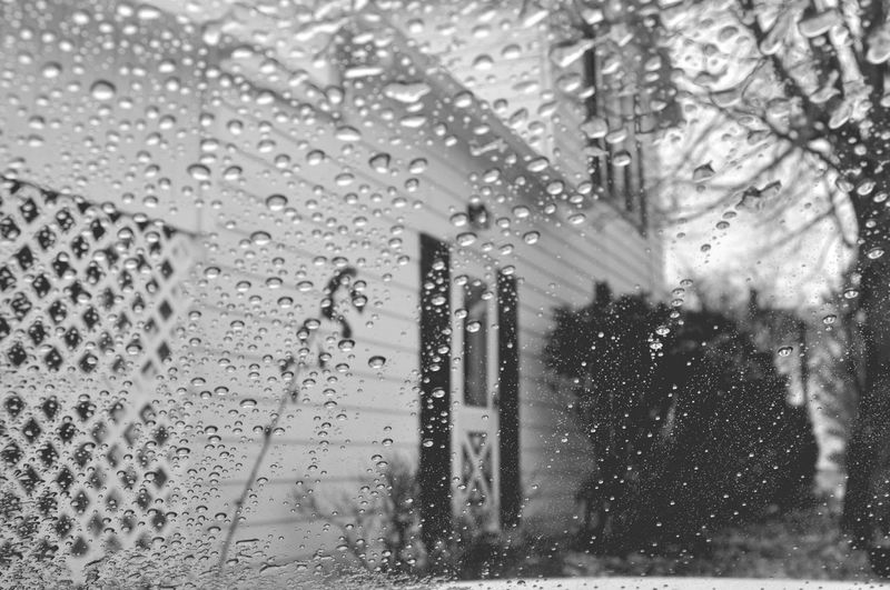 Black And White Dreery Drop Droplet House Low Contrast Ohio Rain Wapakoneta Wet