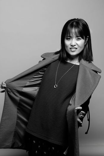 Blackandwhite Portrait Positive Vibes Asian Girl Posing For The Camera Cute Studio Fashion Photography B&W Portrait