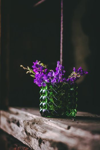 Close-up of purple flower pot on table