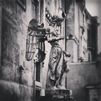 Prague Angel Statue Blackandwhite
