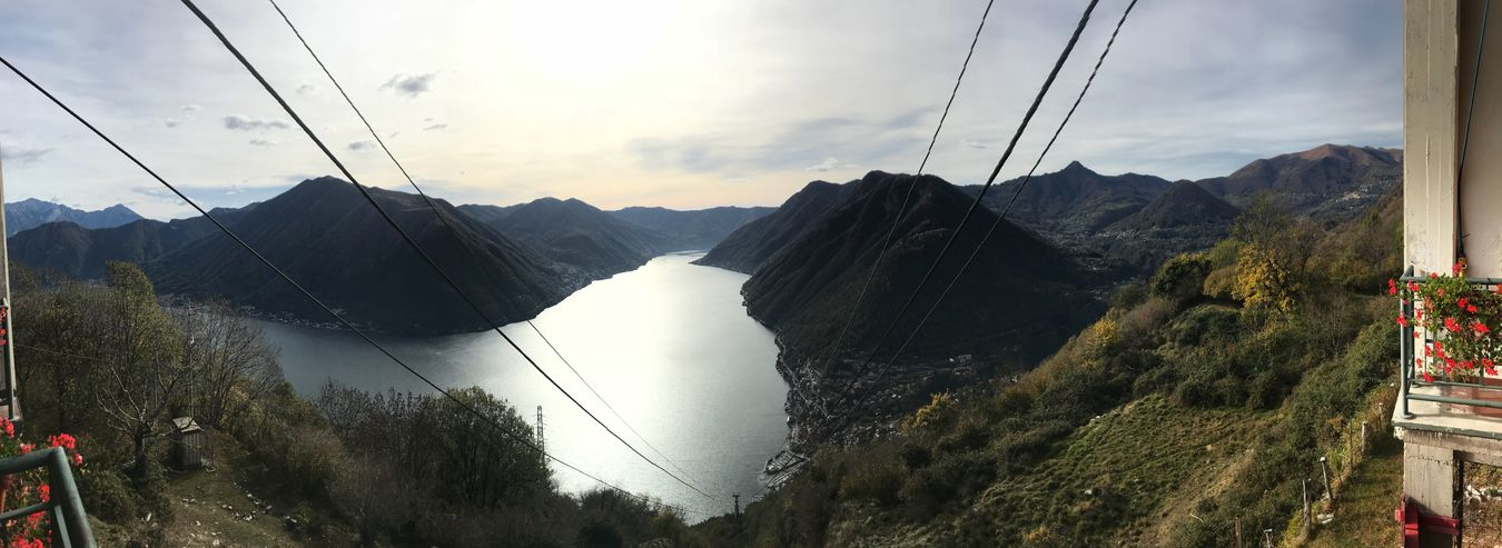 View from Pigra to the Comer Sea Mountain Sky Nature Outdoors Overhead Cable Car Electricity Pylon Day Beauty In Nature