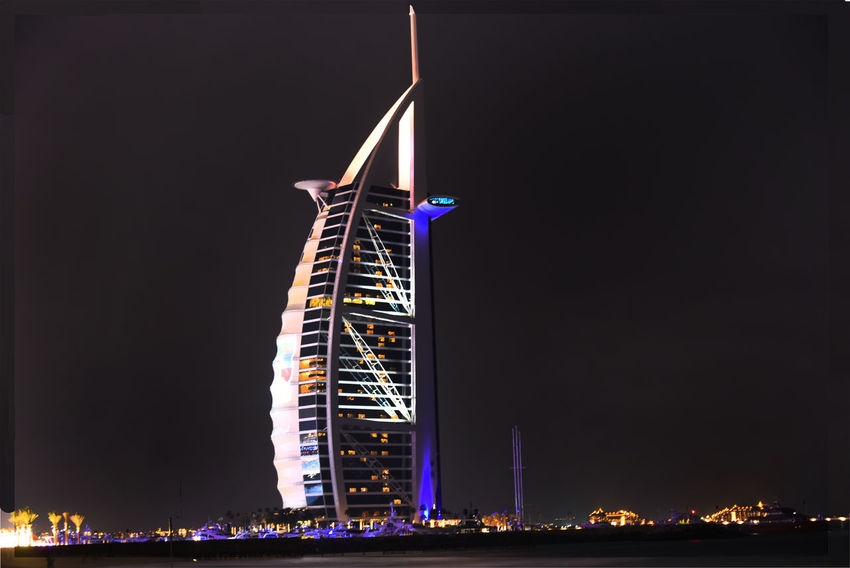 Burj Al Arab Dubai Nightphotography Architecture Building Building Exterior Built Structure City Copy Space Illuminated Low Angle View Luxury Nature Night Nightlife Nightscape No People Office Building Exterior Outdoors Sky Skyscraper Tall - High Tourism Tower Travel
