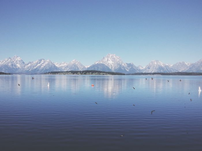 Scenic landscape with mountains and lake
