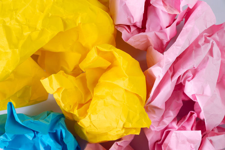 creative idea concept background with colourful crumbled paper ball Abundance Backgrounds Bag Brainstorm Close-up Creative Crumbled Paper Ball Crumpled Crumpled Paper Crumpled Paper Ball Full Frame Garbage High Angle View Indoors  Large Group Of Objects Multi Colored Never Stop Creating No People Paper Pattern Pink Color Plastic Bag Still Life Textured  Thiniking Yellow