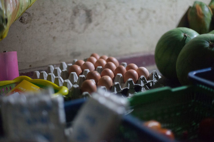 Eggs And Vegetables In Store Room
