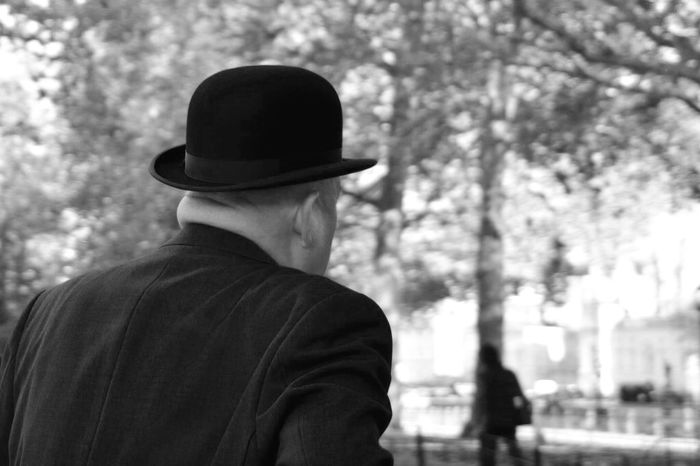 Black And White Monochrome Walking In London Walking In The Street Street Photography From My Point Of View Capture The Moment One Person Senior Men One Senior Man Only One Man Only Lifestyles Headshot Real People Tree Take Photos Selective Focus Eye4photography  EyeEm Gallery London London Streets