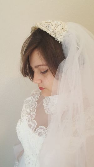 One Person Only Women One Woman Only People Young Adult Eyes Closed  One Young Woman Only Adult Adults Only Human Body Part Beauty Human Face Young Women Beautiful Woman Women Females Portrait Luxury Indoors  Close-up Wedding Dress Vintage Dress
