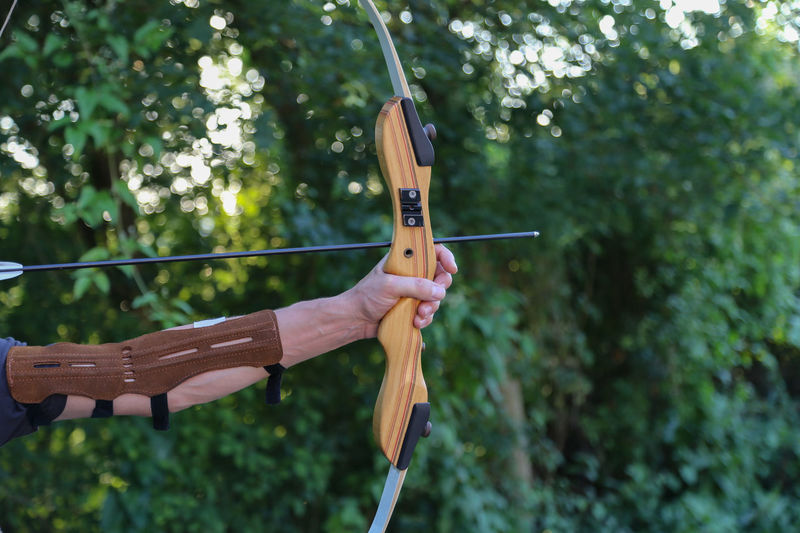 Human Hand Holding Real People Hand One Person Focus On Foreground Plant Human Body Part Day Tree Arrow - Bow And Arrow Aiming Nature Unrecognizable Person Weapon Leisure Activity Lifestyles Archery Shooting A Weapon Outdoors Human Limb Sport Bow
