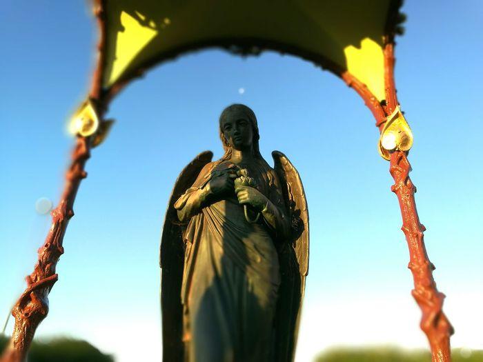 Angel Statue Distant Moon Morning Canoe Lake Statuette Stone Statue