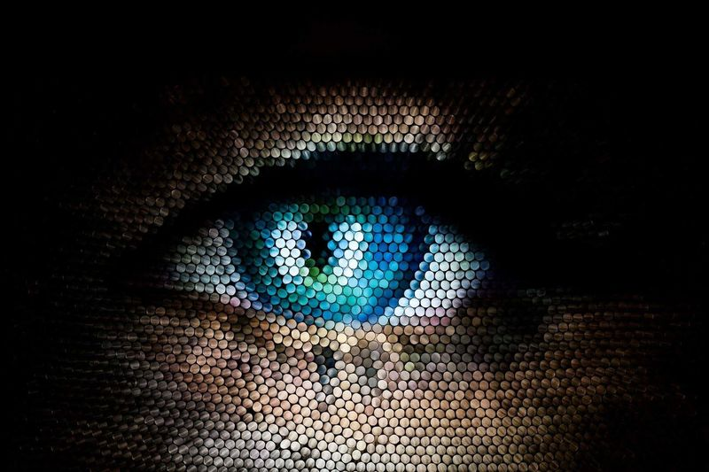 Human Eye Multi Colored People Illuminated Textured  Abstract Straws Strawcamera Pattern Pixelated Blue Eye Circles See The Light Perspectives On People