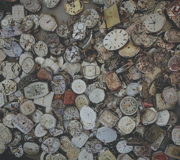 Full frame shot of abandoned clocks