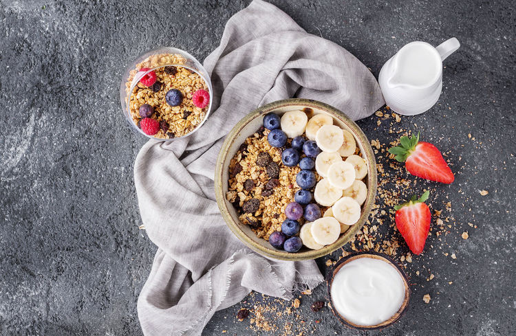 Background Backgrounds Banana Berry Fruit Blueberry Bowl Breakfast Breakfast Cereal Drink Food Freshness Fruit Granola Healthy Eating Milk Napkin She Snack Stone Strawberry Sweet Sweet Food Yogurt