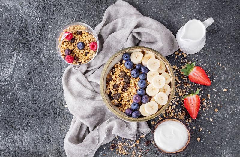 Background Backgrounds Banana Berry Fruit Blueberry Bowl Breakfast Breakfast Cereal Drink Food Freshness Fruit Granola Healthy Eating Milk Napkin She Snack Stone Strawberry Sweet Sweet Food Yogurt