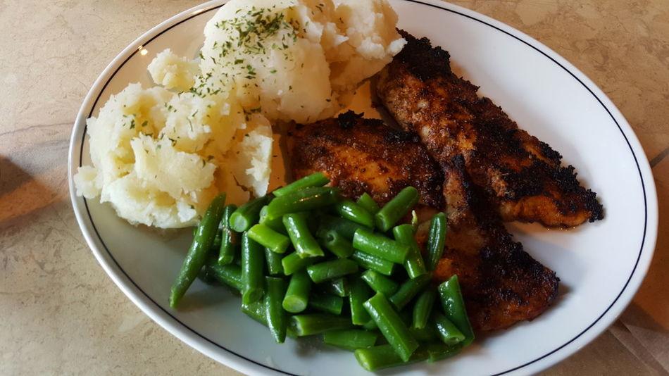 Yummy Food Photography Green Beans Mashedpotatoes Fried Salmon