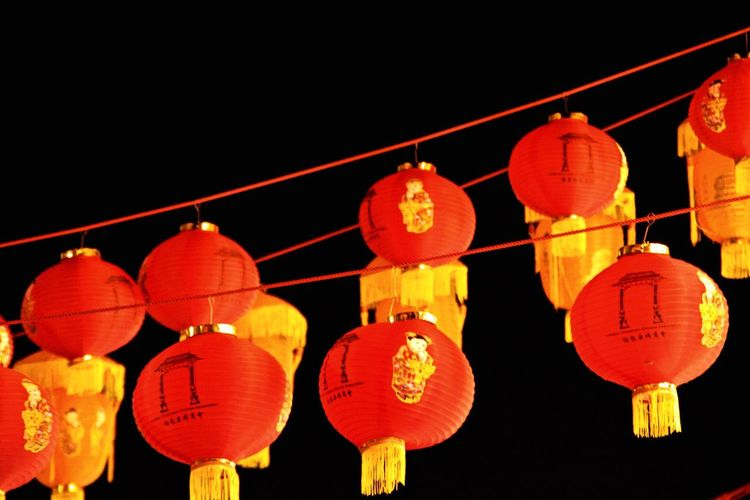 Chinese Lantern Hung over the Street in Chinatown London . Orange Red Yellow Lantern Decoration Chinese Decoration Chinese New Year Nikon Nikond5300 Hanging Chinese Lantern Illuminated Chinese Lantern Festival Low Angle View Night Outdoors Paper Lantern