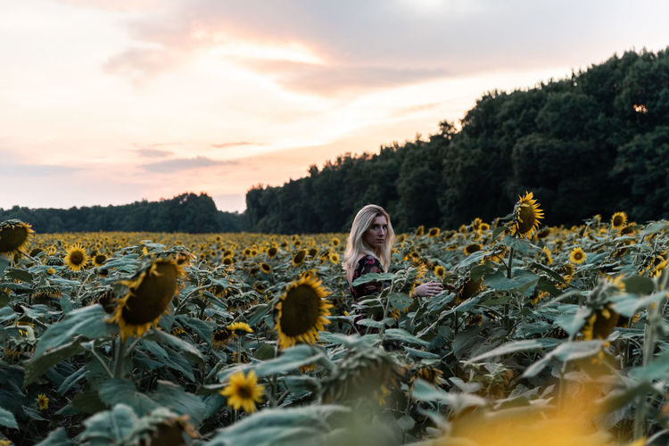 Side view portrait of young woman standing at sunflower during sunset