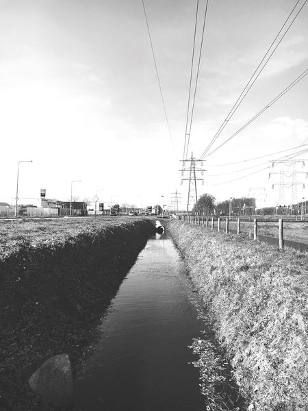 Blackandwhite Black And White Black & White Blackandwhite Photography Black And White Collection  Blackandwhitephotography Black Black And White Photography Black&white EyeEm Best Shots - Black + White Black And White Portrait Blac&white  Power Lines Power Line  Clouds And Sky Sky EyeEm Nature Lover Ditch Water Trench Dyke  Practicing PracticeMakesPerfect