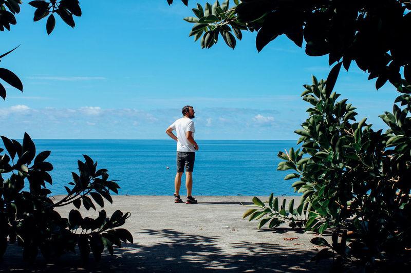 Beach Blue Sky Calm Coastline Concrete Horizon Horizon Over Water Light Madeira Man Ocean Outdoors Sea Summer Travel Vacations VSCO Vscocam Water