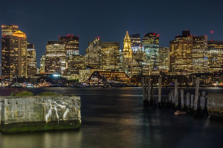 Boston, you're my home Architecture Building Exterior Illuminated Built Structure Night Water Building City Sky Office Building Exterior Cityscape Waterfront Skyscraper River No People Nature Lighting Equipment Travel Destinations Outdoors Modern