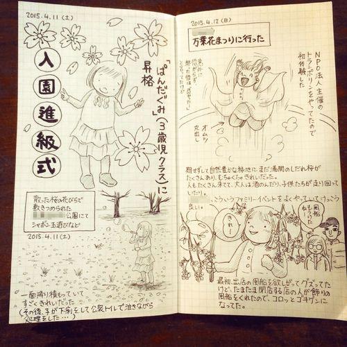 保育園に通園している子どもが無事に進級し、家族で暖かい春の週末を過ごしました。 Illustration Journal Diary トラベラーズノート Travelersnote 育児日記 枝垂れ桜はまだ満開で、すごくきれいだった!