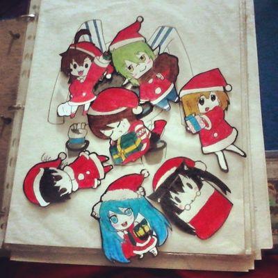 My decorations for my tree Animechibi Anime Animecute Animegirl drawing prismacolor treeanime cute