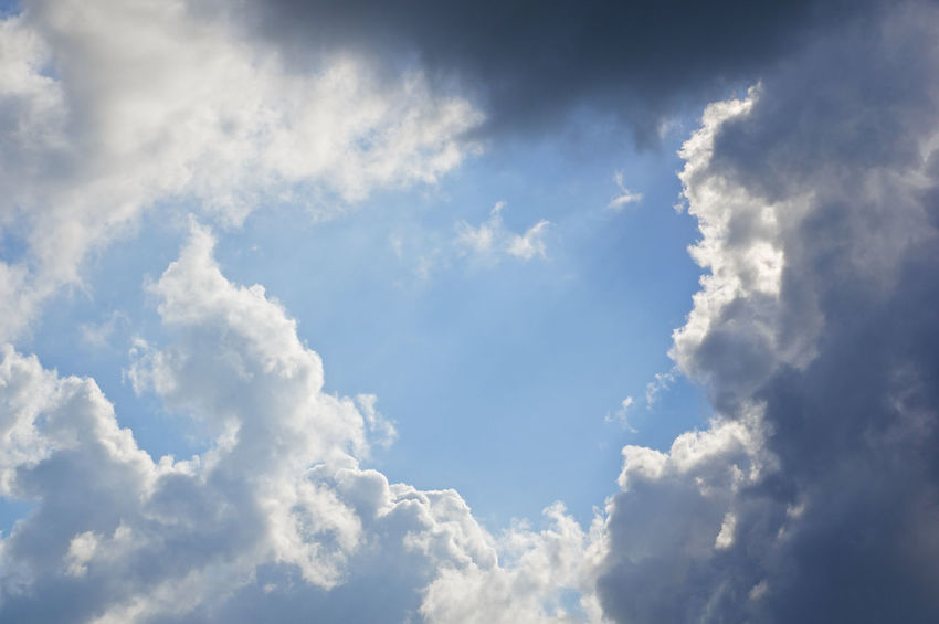 White cloud like baby crawl and raincloud on blue sky as a background. Atmosphere Beautiful Cloud Heaven High Peace Scenic Weather Air Background Blue Climate Cloudscape Cumulus Day Daylight Meteorology Moisture Nature Nebulosity Outdoor Season  Sky Tranquility White