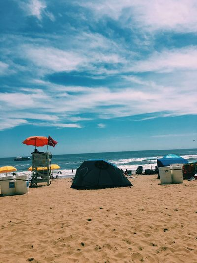 Aesthetics Beach Horizon Over Water Lifeguard  Shore Water Waves Nature Summer Paradise Blue
