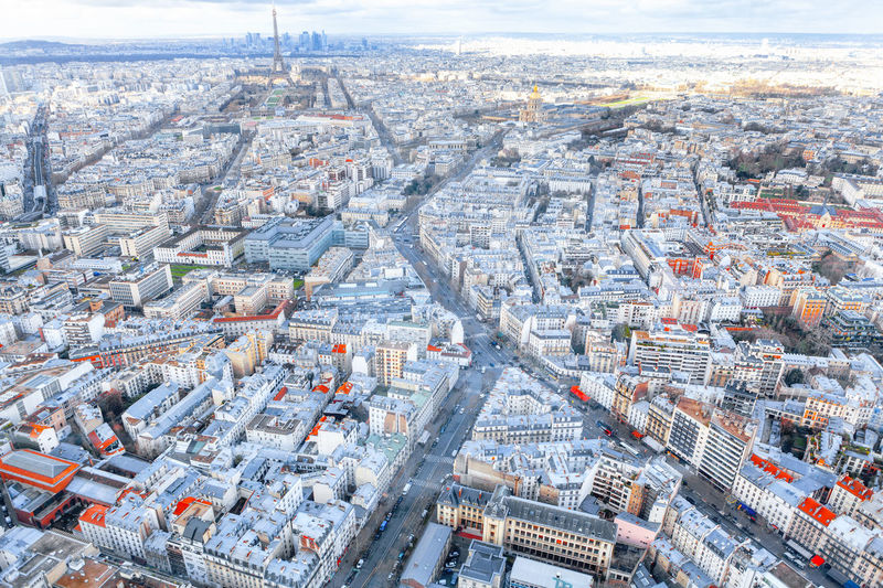 View of central paris from above . 7th arrondissement of paris . aerial panorama of france capital