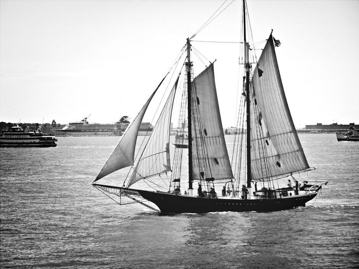 Sail boat on the Hudson River, NYC