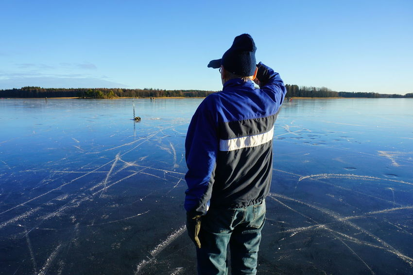 man looking at the frozen lake Water One Person Nature Sky One Man Only Sportsman Blue Adults Only Adult Only Men Outdoors People Leisure Activity Norway Ice Skate Ice Skating Cold Wintertime Cold Temperature Adult Ice Fishing Ice Winter Beauty In Nature Tranquility The Great Outdoors - 2017 EyeEm Awards Place Of Heart Perspectives On Nature