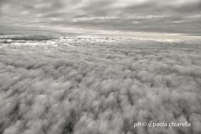 Aerial view of text on cloudy sky