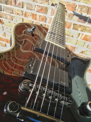 Dramatic Angles Beautiful Deluxe Electric Guitar! Elevated View Brick Wall Electric Guitar Electric Guitar Controls Stringed Instrument Abstract Photography