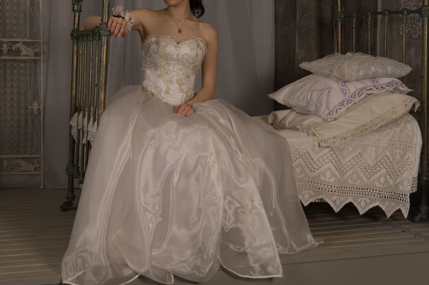 Bride Childhood Day Indoors  One Person People Real People Sitting Wedding Wedding Dress Young Adult