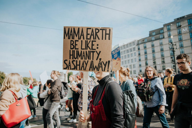 Group of people demonstrating at the climate strike in berlin