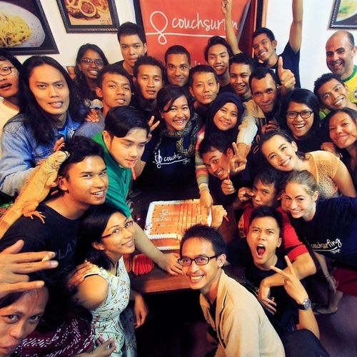 Happy International Couchsurfing Day 2014! amazing Community in Yogyakarta, Indonesia - including their lizard (!) - celebrated Couchsurfing's 15th birthday on June 12 with a lovingly prepared cake! @Couchsurfing Couchstories Yogyakarta Anniversary Community